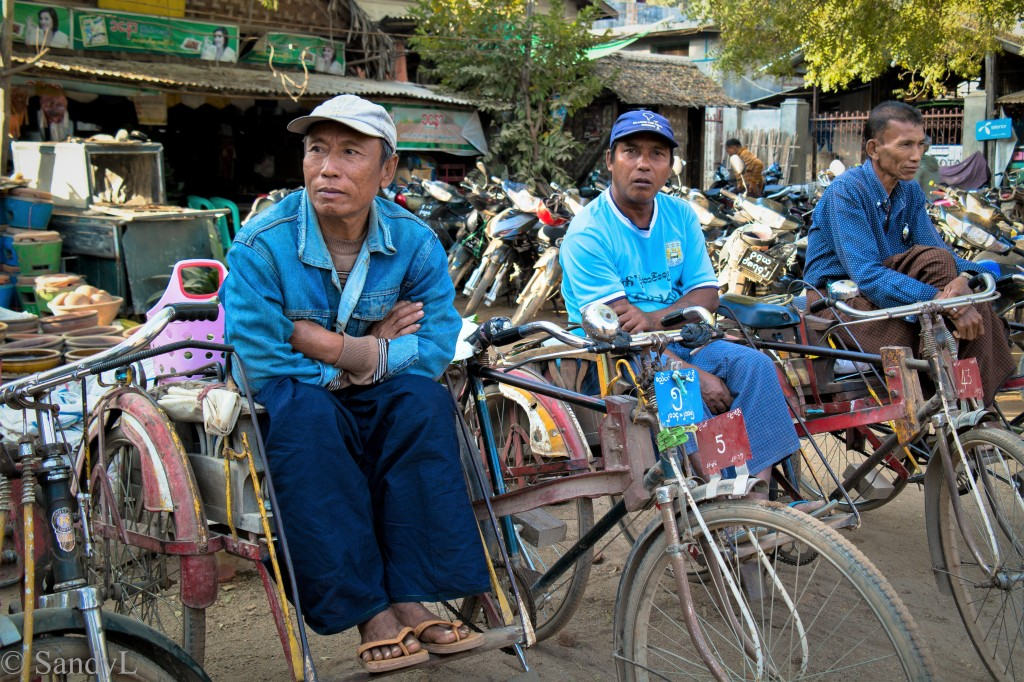 Bicycle taxi stand in Bagan Myanmar